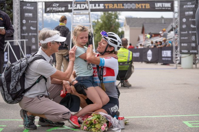My mom and Layla meet me at the finish after 7.5hrs, 103 miles, and 12k ft of vertical climbing